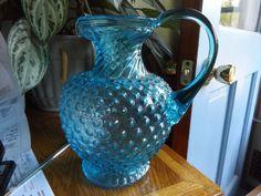 "Vintage Aqua Blue FENTON Hobnail Glass Water Pitcher  8 3/4"""