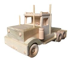 Amish Wood Toy Semi Tractor Truck