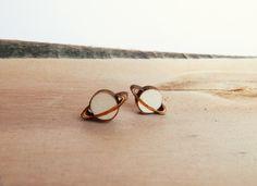 Saturn Wooden Earrings by kateslittlestore on Etsy https://www.etsy.com/listing/115635282/saturn-wooden-earrings