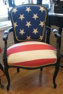 What to do with a Family Heirloom Flag and a favorite chair.Freshly painted out favorite black she took a flag I was ready to retire and replaced the upholstery with it. The gold braid trim really sets it off. Furniture Upholstery, Upholstered Chairs, Painted Furniture, Diy Furniture, Chair Cushions, Patriotic Decorations, Patriotic Party, Patriotic Crafts, July Crafts