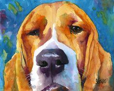 Basset Hound Art Print of Original Watercolor by dogartstudio