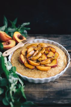 Cornbread with Peaches and Bourbon Syrup (Dairy-Free)
