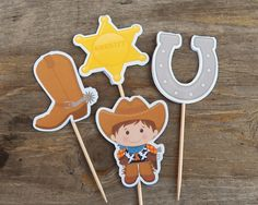 Cowboy Birthday Party  Set of 12 Boot Cupcake by TheBirthdayHouse, $6.00