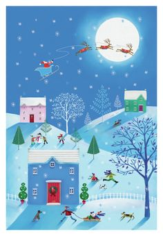 Christmas Scenes, Christmas Books, Kids Christmas, Christmas Crafts, Illustration Noel, Christmas Illustration, Illustrations, Winter Painting, Winter Art