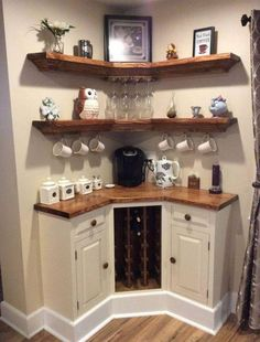 Awesome use for a coffee station in a small corner of the house.