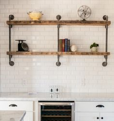 Open shelving... a fine alternative to simply adding more upper cabinets.