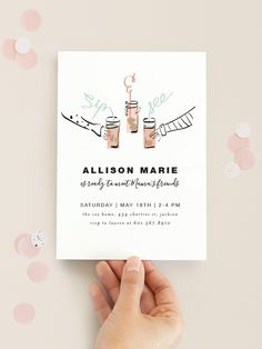Sip & See, Baby! Baby shower invitation design by Minted artist Novel Paper.