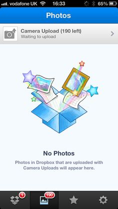 When no photos have been uploaded to Dropbox yet - Empty States #ui #patterns #mobile