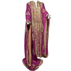 Spectacular Silk Embroidered Caftan from Egyptian Court Habitué | From a collection of rare vintage suits, outfits and ensembles at https://www.1stdibs.com/fashion/clothing/suits-outfits-ensembles/