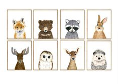 This animal art prints collection features a set of 8 prints from nursery baby animal collection. The collection includes portraits of an moose, deer, fox, raccoon, bear, hedgehog, owl, and rabbit. If, however, youd like to swap any of them for a different piece in my shop, please give me