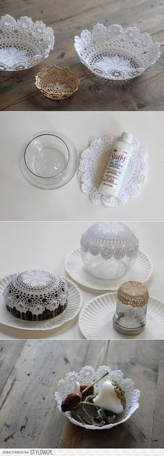 - - Get Your Craft On - - / DIY : Lace Doily Bowl //