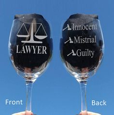 Etched Lawyer Wine Glasses 2 sided Chose from by TipsyGifts