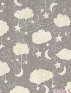 grey fabric with beige cloud moon star by Timeless Treasures - Children Fabric - Fabric - Kawaii Shop modeS4u