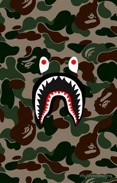 BAPE Camo + Shark Face Logo