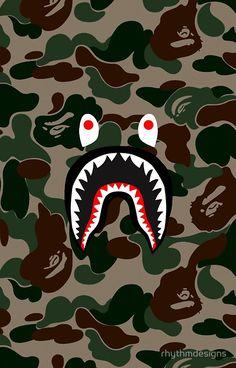 BAPE Camo + Shark Face Logo