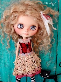 """Blythe doll outfit  """"fly fly butterfly"""" grunge chic vintage dress"""