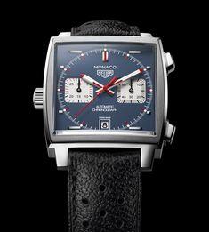 TAG Heuer - Monaco Automatic Chronograph Steel and Leather Watch Steve Mcqueen, Monaco Tag Heuer, Cool Watches, Watches For Men, Men's Watches, Stylish Watches, Sport Watches, Fashion Watches, Armadura Ninja