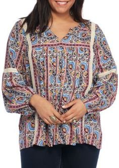 Red Camel  Plus Size Detail Print Top