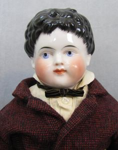 c1880s china head Gentleman in wonderful wool suit with pocket watch. Coming soon to Joy's Antique Dolls on #DollShopsUnited #antiquedoll