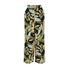 Warehouse Warehouse Tropical Garden Culotte Size 6 ($46) ❤ liked on Polyvore featuring pants, black pattern, wide leg trousers, wide leg print pants, print pants, wide leg summer pants and patterned trousers