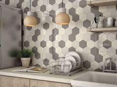 chic mosaic honeycomb backsplash in grey shades and ivory