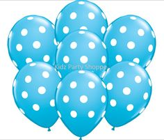 Baby Mickey Mouse Blue and White Polka Dot Latex Balloons