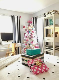 Turn your teen room into a Winter Wonderland with festive Holiday decor from HomeGoods.The aisles are full of Christmas accessories. I found these gold trees, hot pink bottle brush tree and whimsical black white and gold glass ornaments that pop against the white tree. While you're there grab a few decorative storage boxes and wrapping paper. Sponsored Happy By Design Post