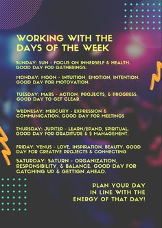 Working with the energy of each day of the week helps us align with the natural forces. Each Day, Good Day, Intuition, Mystic, Communication, Healing, How To Get, Natural, Buen Dia
