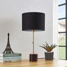 Lindby Josias lampa stołowa klosz z tkaniny czarna   Lampy.pl Small Tables, Fabric Shades, Messing, Black Fabric, Textiles, Floor Lamp, Light Bulb, Cool Designs, Table Lamp