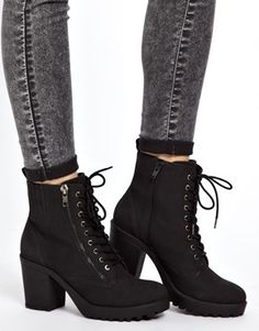 New Look Croydon Lace Up Chunky Heeled Boots $56