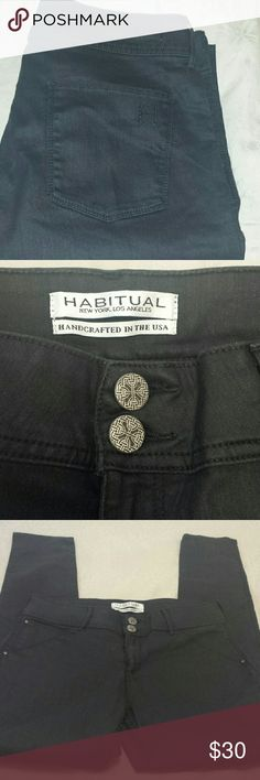 """Habitual stretch jean jeggings Like new Habitual black jeans. Super stretchy, can actually fit larger size, they were a little loose on me when I wore a size 32. But I like jeans very tight.  But they are an amazing pair of pants. 64% cotton, 32% poly  4% spandex.  Super soft jegging like.  No actual front pockets.  Waist 16.5 with plenty give, 32 inseam, 10.25 front rise, 14"""" rear rise.  Great jeans if u have thick legs cuz of the amount of stretch. :-) Habitual Jeans Skinny"""