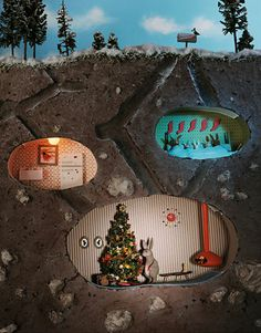 christmas diorama - underground dwellers idea