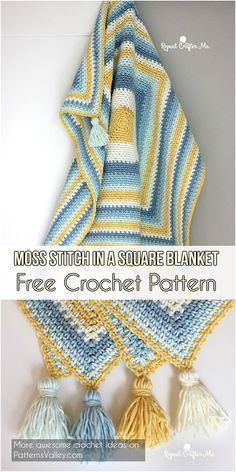 Moss Stitch in a Square Blanket Free Crochet Pattern