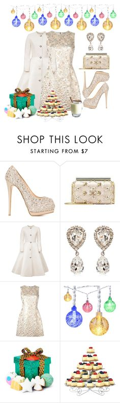 """Perfect Party Dress"" by aharcaki ❤ liked on Polyvore featuring Giuseppe Zanotti, Oscar de la Renta, Esme Vie, Dolce&Gabbana and Wilton"