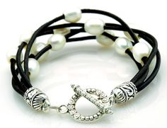 Mutli Strand Black Leather Freshwater Pearl Bracelet Etched Silver Toggle Clasp #HB #Beaded