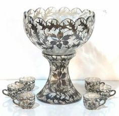 Heisey Silver Overlay Punch Bowl & 6 Cups Punch Bowls, Silver Work, Overlays, Cups, Passion, China, Diamond, Glass, Mugs