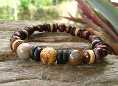 Jasper Indian Agate Coconut & Wood Beaded Bracelet by cainersbliss