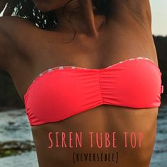 REVERSIBLE TUBE TOP W/ TIE BACK! The Siren Tube Top Combines comfort   fashion. With padding and tie up back this strapless bandeou top, it is completely seamless and reversible giving you a 2 style option.  It features hard cups for perfect shape and support, which keeps your bikini top where it's meant to be so you can enjoy the beach or laze by the pool. 2 colour options (print w/ reversible plain colour): - Hot Orange w/ Orange Shell Print- Blue w/ Blue Shell...