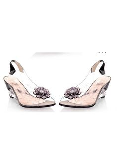 Cute BlackTransparent Wedge Heel with Flower Wedding/Party Shoes