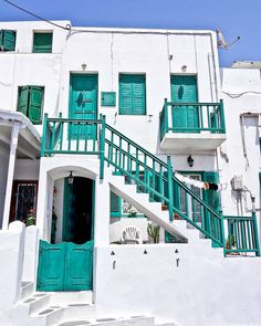 You'll bump into green, blue & red accents beautifully attached to white houses in Mykonos, Greece. | instagram: @queenetjuin | Around the world. Lonely Planet. Places to Go. Places to See. Travel and Leisure. Travel and Life. Travel and Living. Travel the World.