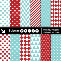 Aqua Blue and Red Geometric Digital Papers. Chevron Checks Stars Stripes. Scrapbook / Invite DIY 8.5x11 12x12 jpg INSTANT DOWNLOAD subwayParty 3.45 USD