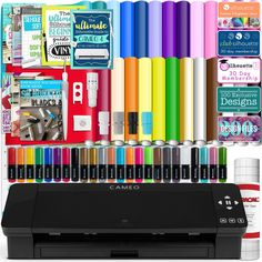 Silhouette Black Cameo 4 w/ 26 Oracal Glossy Sheets, Guides, 24 Sketch Pens, and More - Swing Design Silhouette School, Silhouette Design, Silhouette Cameo, Transfer Paper, Heat Transfer Vinyl, All Silhouettes, Swing Design, Siser Easyweed, Oracal Vinyl