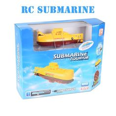 Create Toys 3311 Mini RC Submarine 3CH Remote Control Toy With USB Cable Blue Yellow Christmas Children Kids Gift RTR