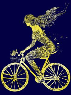 mermaid and her bike art print