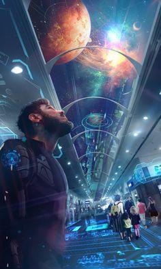Pleiadian by Marlon Delano Arte Sci Fi, Sci Fi Art, Arte Cyberpunk, Cyberpunk Aesthetic, Futuristic City, Futuristic Architecture, Futuristic Interior, Space Fantasy, Sci Fi Fantasy