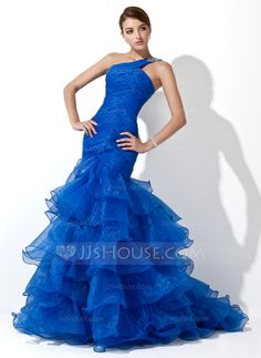 Prom Dresses - $172.99 - Mermaid One-Shoulder Sweep Train Organza Prom Dress With Ruffle Beading (018005077) http://jjshouse.com/Mermaid-One-Shoulder-Sweep-Train-Organza-Prom-Dress-With-Ruffle-Beading-018005077-g5077/?utm_source=crtrem&utm_campaign=crtrem_US_28010