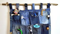 Fantastic Wall Pocket Organizer From Old Jeans - Make this awesome denim pocket…