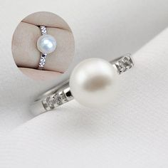 Perle anelli di nozze per le donne, aperta anello perla, poco costosi anelli di fidanzamento, anelli moda, anelli di promessa a buon mercato, vere perle di anelli di diamanti falsi