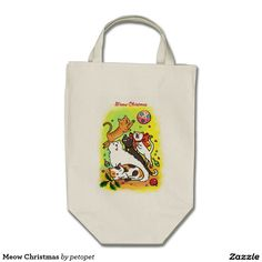 Meow Christmas Grocery Tote Bag. A cute cartoon drawing of cats playing with Christmas ornaments. There are white angora cat,   calico cat, orange ginger tabby kitten, siamese cat and a black cat. Catcartoon #cutekitty #Christmascats #Christmaskitty #whiteangoracat #calicocat #orangegingertabbycat #siamesecat #blackcat #funnycats