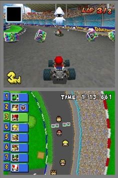 Mario Kart DS- it's actually easier than Mario Kart on the Gamecube and on the Wii. :)